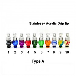 Acrylic + Stanless steel 510 Drip Tip
